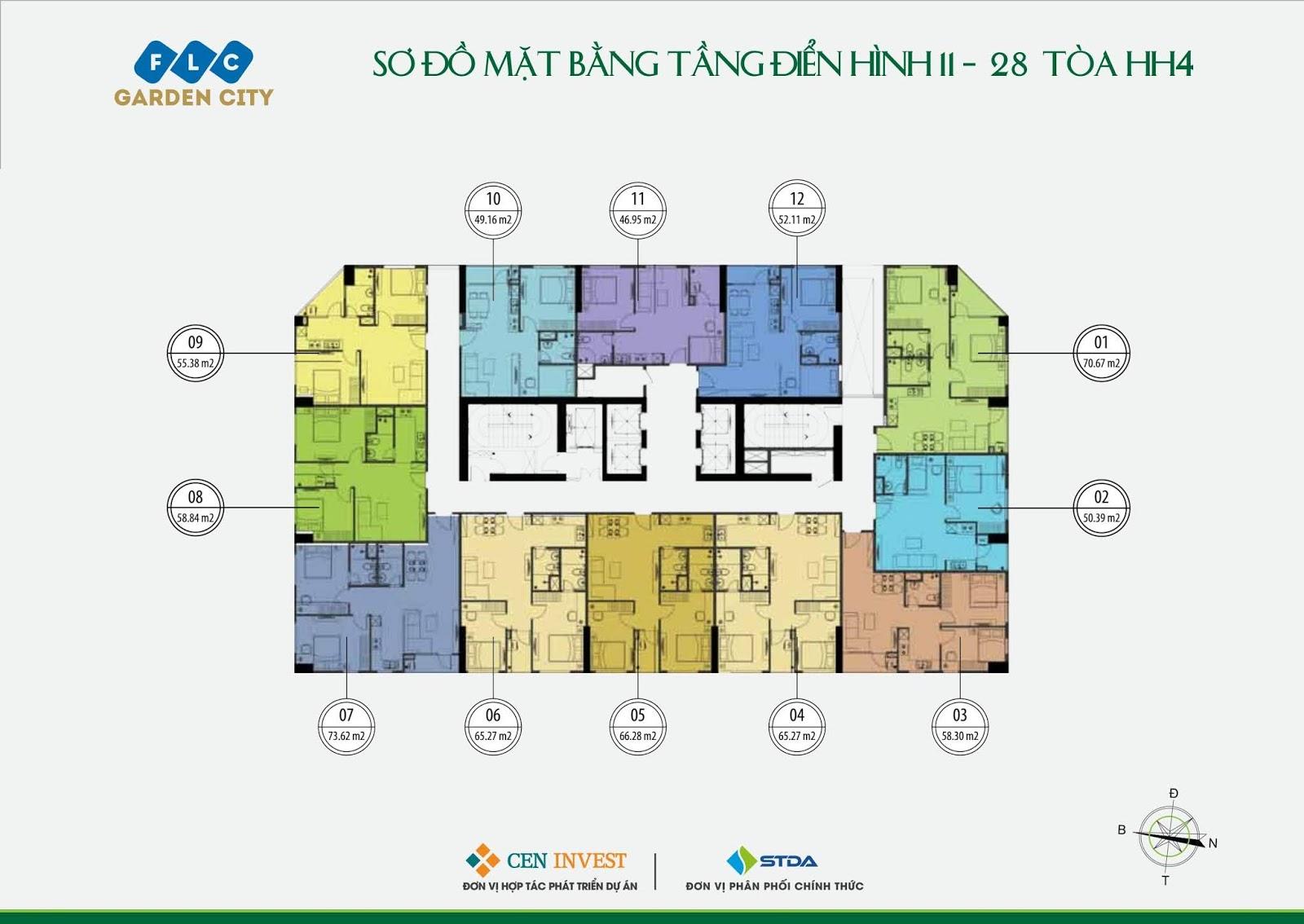 Mặt bằng tầng 11 - 28 Tòa HH4 dự án FLC Garden City